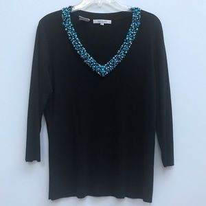 LOULOU Tops - LOULOU black v-neck with blue beaded neckline 247